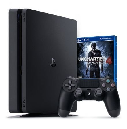 CONSOLE SONY PLAYSTATION 4 SLIM JOGO UNCHARTED 4 + CONTROLE DUALSHOCK 4