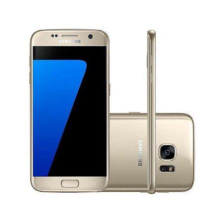 "Smartphone Samsung Galaxy S7 SM-G930F 32GB LTE 1Sim Tela 5.1"" QHD Câm.12MP+5MP-Dourado"
