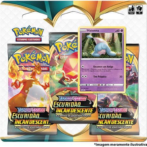 Triple Pack Hatenna Pokémon Espada e Escudo 3 Escuridão Incandescente