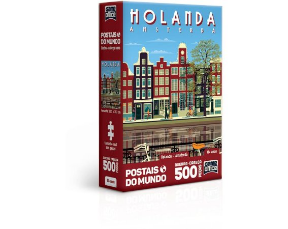 Postais do Mundo – Holanda – Amsterdã – quebra-cabeça 500 peças Nano