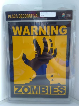 Placa Decorativa Warning Zombies