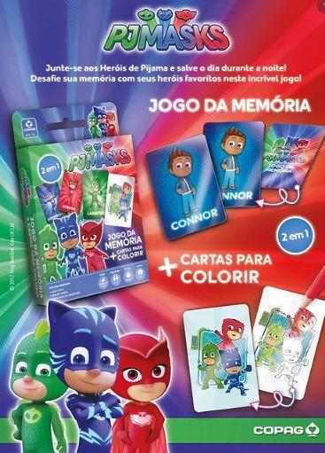 Pj Masks Jogo da Memoria com Cartas Para Colorir - Copag