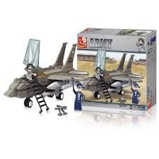 Blocos de Montar Air Force Modelo Jato de Combate 142 Peças Multikids