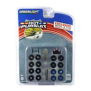 Conjunto Multipack Rodas e Pneus - Hot Pursuit - 1:64 - Greenlight Ref.: 13171