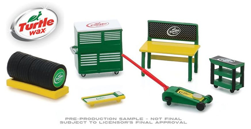 Set: Shop Tools - Ferramentas e Acessórios - Turtle Wax - Série 1 - 1:64 - Greenlight (Chase / Green Machine) Ref.: 1816