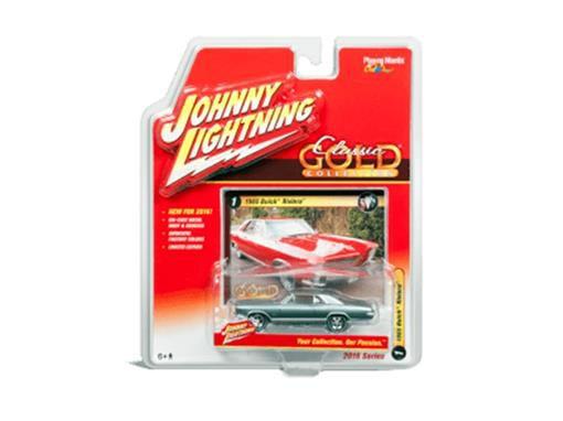 Miniatura Carro Buick Riviera (1965) - Classic Gold - 2016 Series - Verde - 1:64 - Johnny Lightning