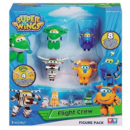 Mini Figuras Transformáveis - 10 Cm - Super Wings - Equipe de Bordo