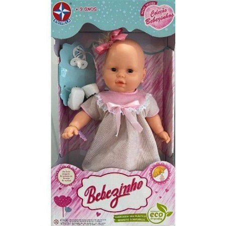 Boneca Bebezinho Vestido Rosa Claro - Estrela