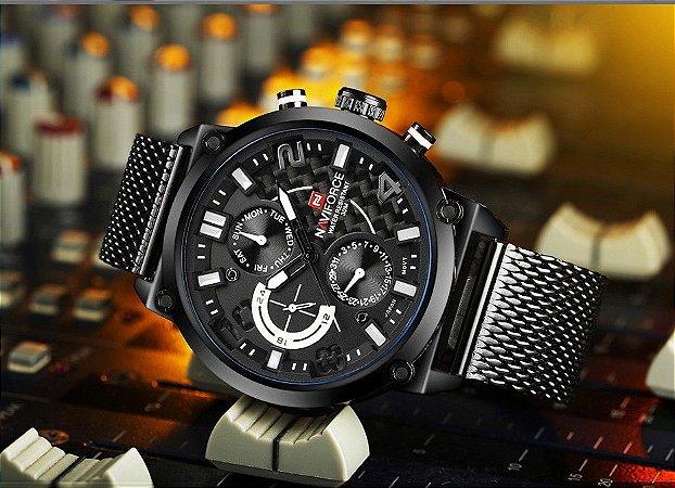 2017 dos homens de luxo da marca naviforce quartzo analógico 24 horas data relógios Homem do Relógio À Prova D' Água 3ATM Men Sport de Pulso de Aço Completo relógio