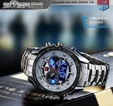 relógio masculino 2015 de aço inoxidável dos homens negros militares binário azul LED ponteiro assista Mens 3 AM à prova d ' água relógios desportivos