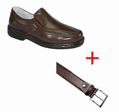 Kit 2 em 1 - Sapato Couro de Carneiro + Cinto em Couro