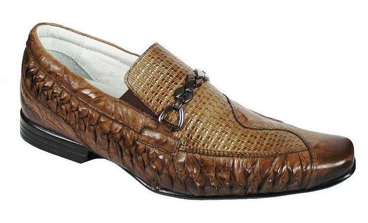 Sapato Masculino em Couro Sola Borracha Flexível Palmilha Confort