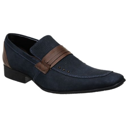Sapato Casual Couro Azul Nobuck Bigioni