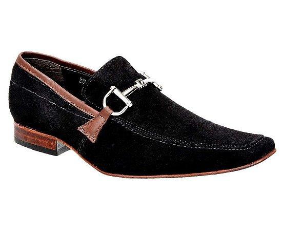 Sapato Casual Masculino Nobuck Preto Bigioni