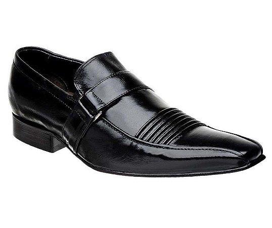 Sapato Masculino Social Couro Preto Bico Fino
