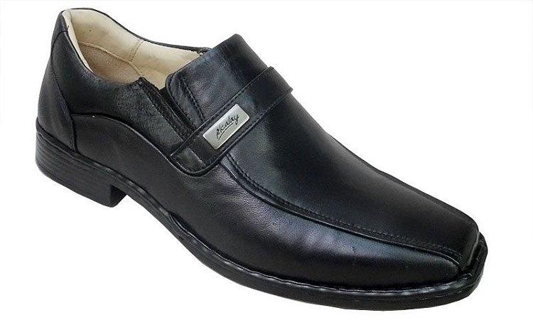 Sapato Masculino Preto Couro Carneiro Palmilha Gel Confort
