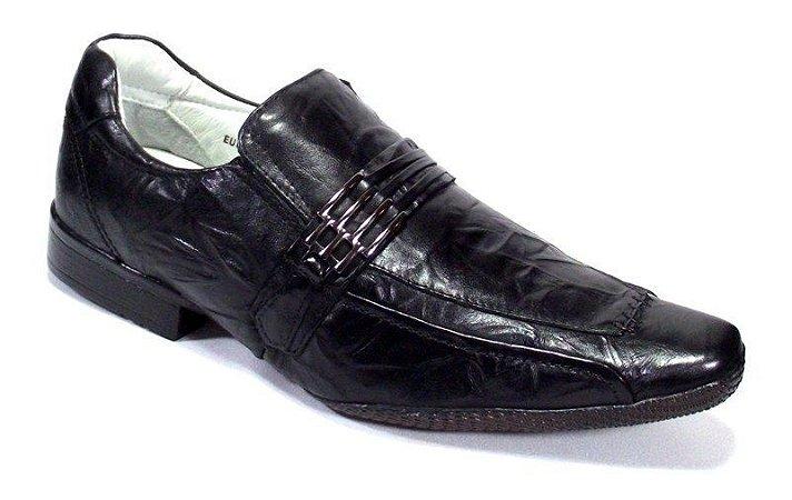 Sapato Preto Masculino Couro Bovino Cruch Palmilha Gel Confort