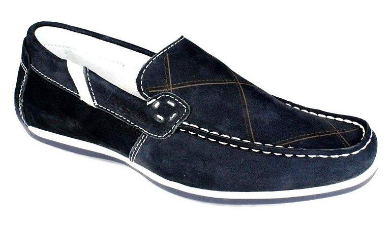 Sapato Mocassim Masculino Couro Natural Azul Marinho - Nevano Shoes