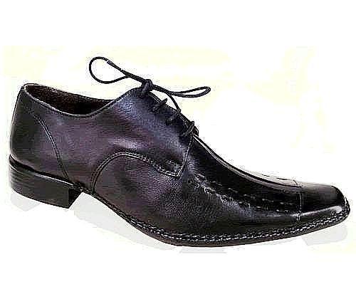 Sapato Social em Couro Pelica Preto ou Marrom com Cadarço