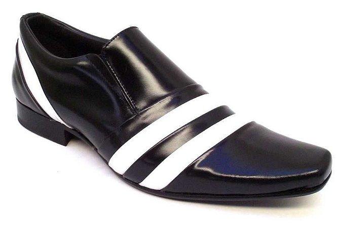 Sapato Social Verniz Preto e Branco