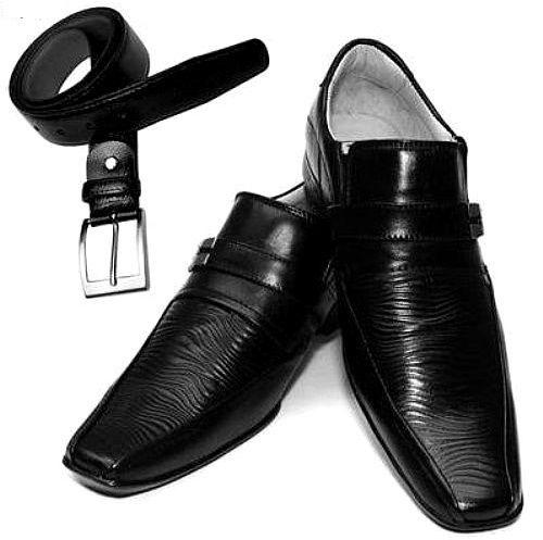 Kit 2x1 Sapato Preto Social + Cinto Preto em Couro