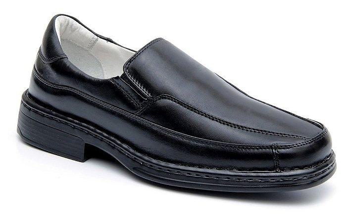 Sapato Preto com Palmilha Gel Confort Couro Pelica