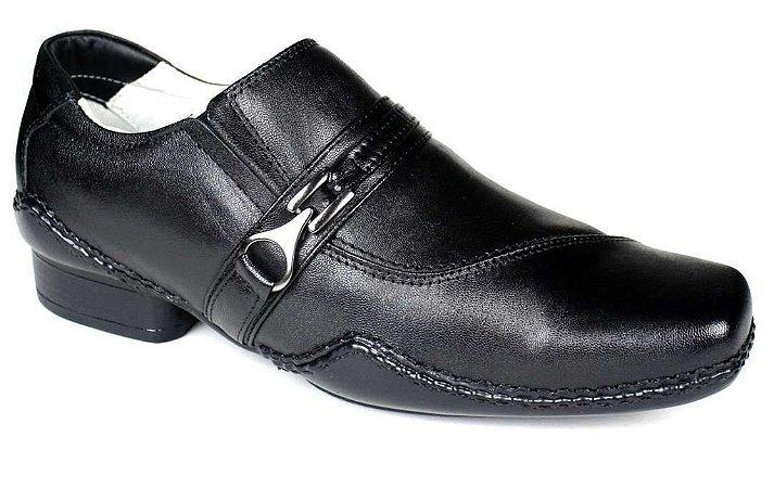 Sapato Masculino Couro Preto Sola de Borracha Ranster Calçados