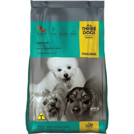 Ração Three Dogs Original Cães Adultos de Raças Pequena 15 kg
