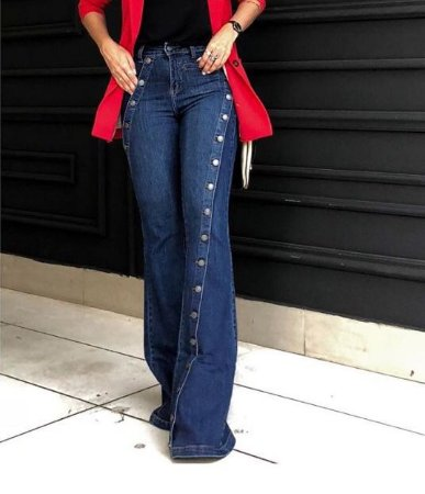 Calça Jeans Flare Botões