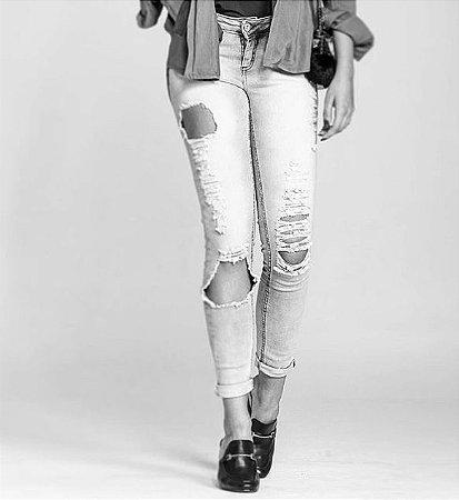 Calça Jeans Skinny Cintura Intermediaria Feminina