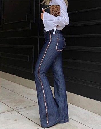 Calça jeans Flare Feminina Cintura Media