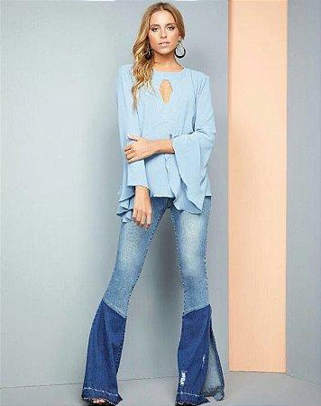 53ebe3ad3 Calça Flare Jeans Cintura Alta - Loja Bastiana - Roupas e Acessórios