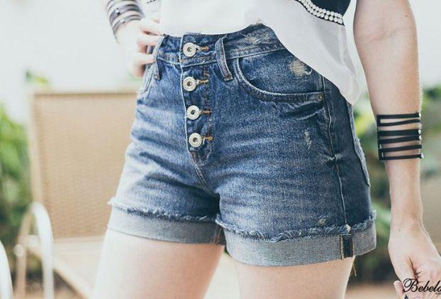 Shorts Jeans Feminino Cintura Alta