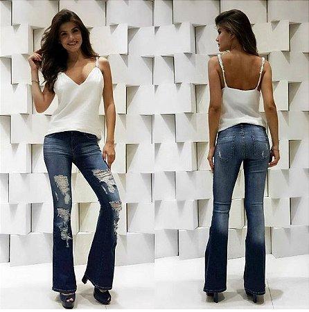 Calça Jeans Flare Feminina Destroyed