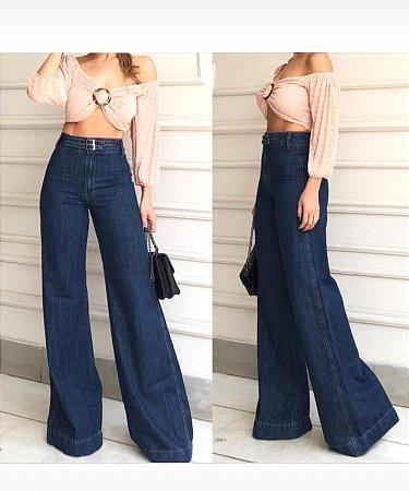 Calça Jeans Flare Wide