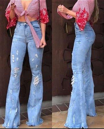 Calça Jeans Flare Ripped Feminina