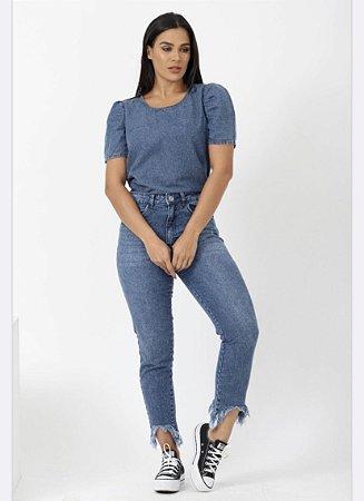 Calça Jeans Mom Skinny Feminina