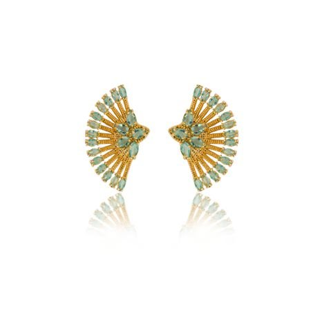 Brinco Ear Cuff com Zircônias azul claro Folheado a Ouro 18K