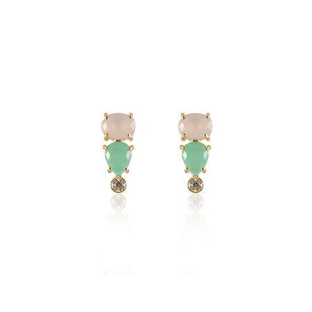 Brinco Zircônias Verde, Rosa e Transparente Folheado a Ouro 18K