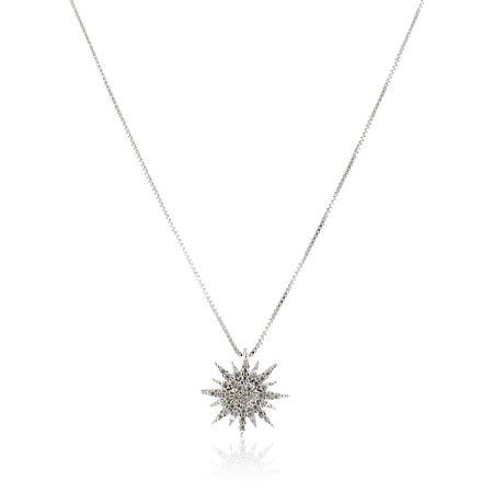 Colar Estrela Cravejado em Zircônias Ródio Branco