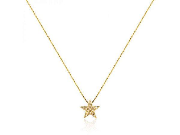 Colar Estrela Cravejado Zircônias Folheado a Ouro 18K.