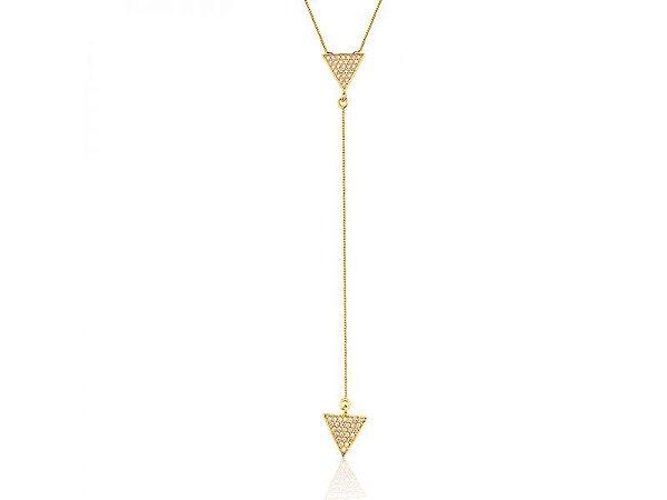 Colar Gravata Triângulo Cravejado Zircônias Folheado a Ouro18K
