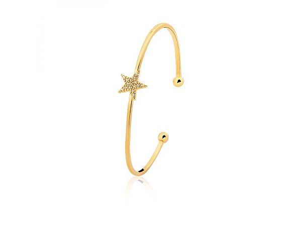 Bracelete Estrela com Zircônias Folheado a Ouro 18K