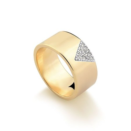 Anel  Triângulo com Zircônias Folheado a Ouro 18K.