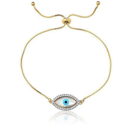 Pulseira Olho Grego com zircônia Folheada a Ouro 18K