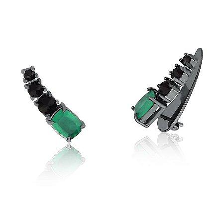 Brinco EarCuff Zircônias Verde e Negras Folheado em Ródio Negro.