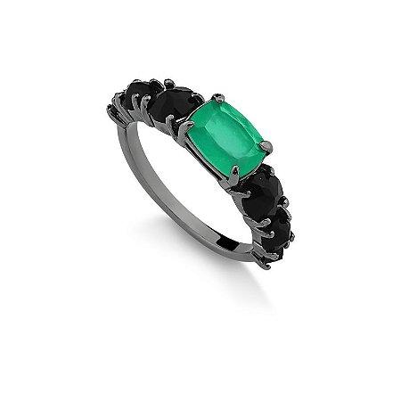 Anel  pedra verde Folheado em Ródio Negro
