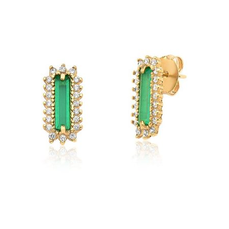 Brinco  Pedra Verde com Zircônias Folheado a ouro 18k
