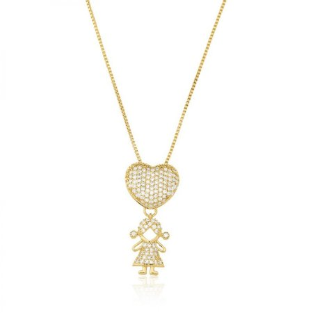 COLAR MOTHER'S LOVE GIRL FOLHEADO A OURO 18K.