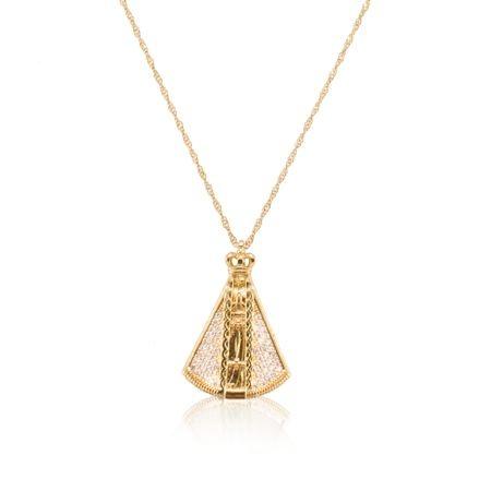 Colar com pingente Nossa Senhora Aparecida cravejada de Zircônias folheado a ouro 18K